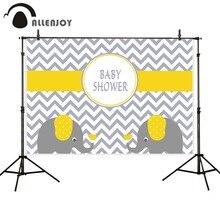 Allenjoy Fotografie Achtergronden Chevron Geel Olifant Baby Shower Verjaardag Achtergronden Voor Fotostudio Fotografie Achtergrond