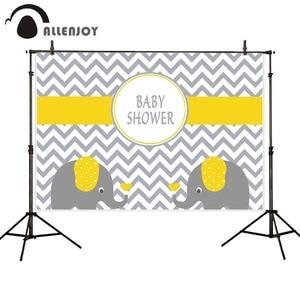 Image 1 - Allenjoy photography backdrops chevron yellow elephant baby shower birthday backgrounds for photo studio photography background