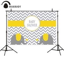 Allenjoy צילום תפאורות שברון צהוב פיל תינוק מקלחת יום הולדת רקעים עבור תמונה סטודיו צילום רקע