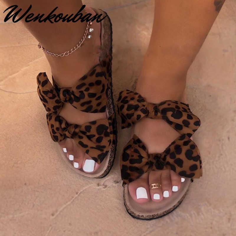 2020 kadın sandalet ayakkabı yaz düz sandalet Bow-Knot konfor kaymaz plaj ayakkabısı platformu slayt artı boyutu Femmes sandalet