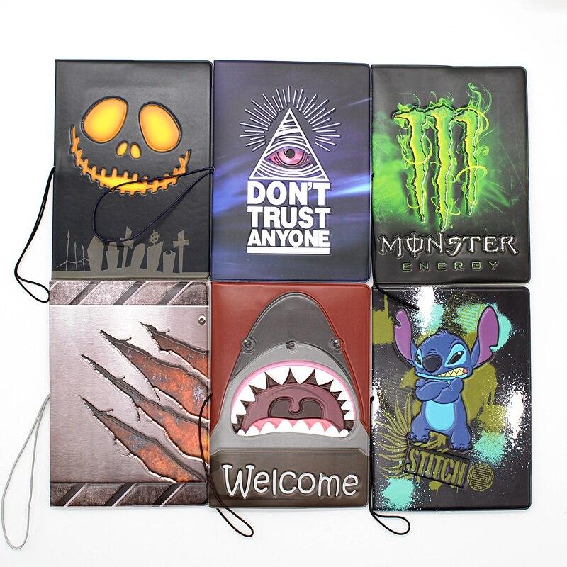 Creative Personalized Boys Cartoon Passport Cover Men 3D Design PU Leather Travel Passport Holder Case Card ID Holders Bag