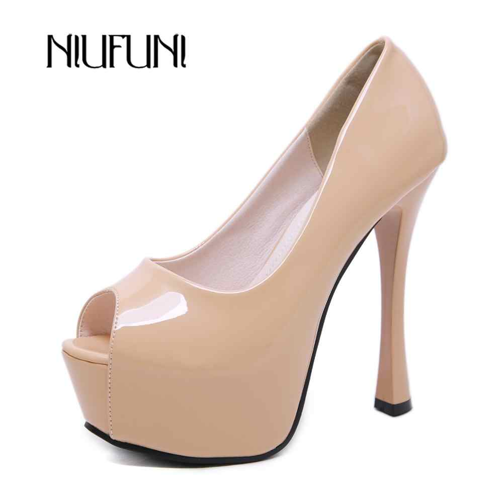 NIUFUNI 2019 Mode Patent Leder High Heels Frauen Pumpen Peep Toe Plattform Hochzeit Schuhe Stilettos Damen Abend Schuhe