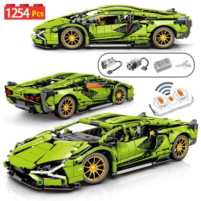 1254Pcs City Technic RC/non-RC Sports Car Building Blocks Creator Remote Control Racing Vehicle MOC Bricks Toys For Children