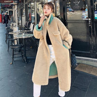 Lamb Wool Cotton Clothing Female Korean Loose Winter 2019 New Thickening Warm Long Faux Fur Coat Casual Furry Teddy Jacket f2242