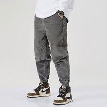 Japanese Vintage Fashion Men Jeans Loose Fit Autumn Casual Corduroy Harem Pants Elastic Waist Slack Bottom Hip Hop Joggers Pants