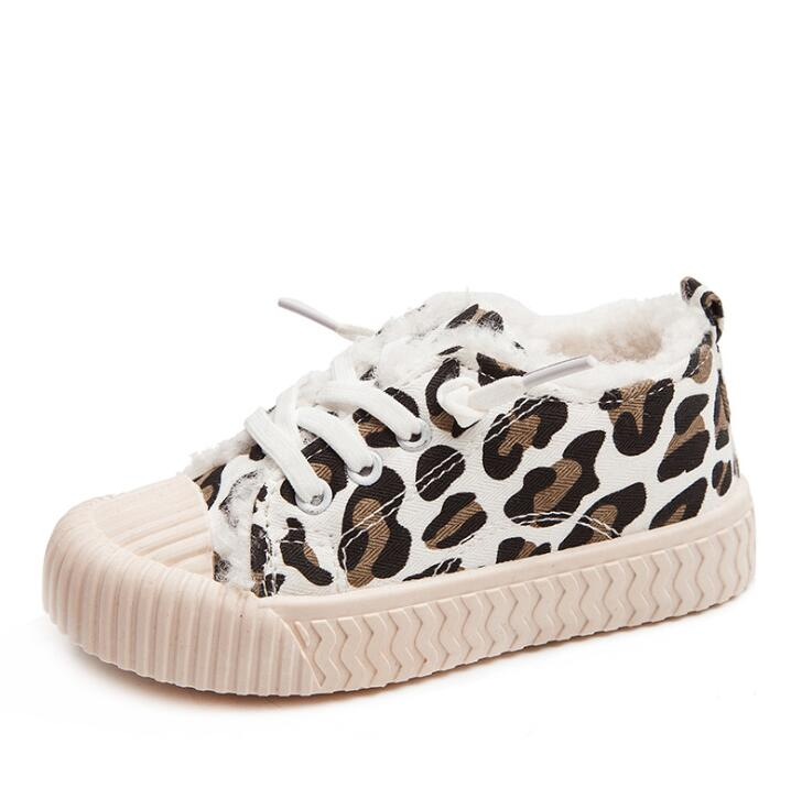 Winter Kids Warm Shoes Boys Girls Casual Shoes Fashion Leopard Print Comfortable Canvas Shoes Children Sneakers Slip On Loafers Sneakers     - title=