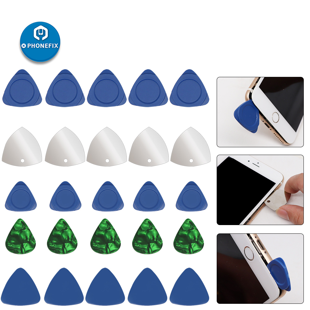 PHONEFIX 10Pcs Triangle Pry Pieces Pry Blade Multisize Opening Pry Tool Set Mobile Phone LCD Screen Opening Tool Disassembly Kit
