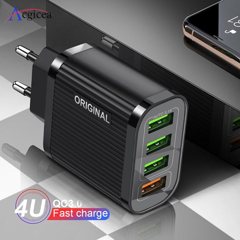Cargador de teléfono USB de 4 puertos QC 3,0 carga rápida para iPhone 11 Pro Huawei Samsung adaptador de cargador de viaje de pared 35W carga rápida 3,0 Base de carga inalámbrica Baseus 15W Qi soporte de carga rápida para teléfono almohadilla de carga inalámbrica multifuncional para iPhone 11 Pro Samsung