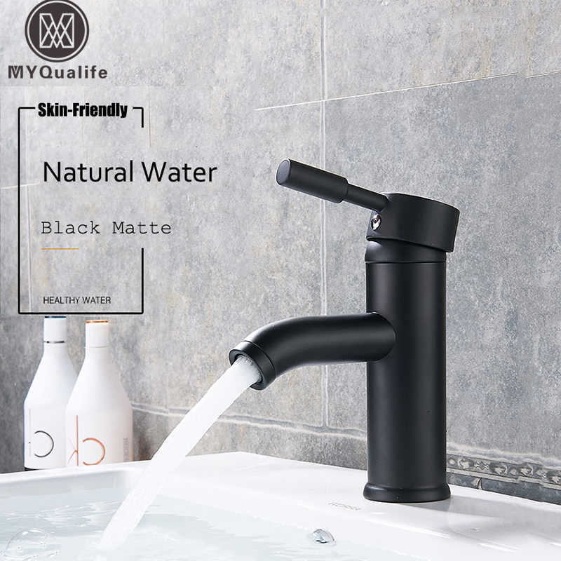 Matte Black Single Handle Cold Hot Water Basin Faucet Bathroom Cabinet Faucet Contracted Basin Faucet Deck Mounted