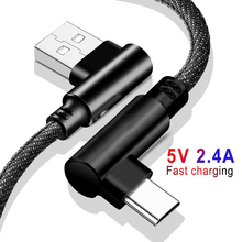 USB Type C 90 Degree Fast Charging Usb Cable Type-c Data Sync Cord Charger Usb-C For Samsung S8 S9 Note 9 Xiaomi Mi8 Mi6
