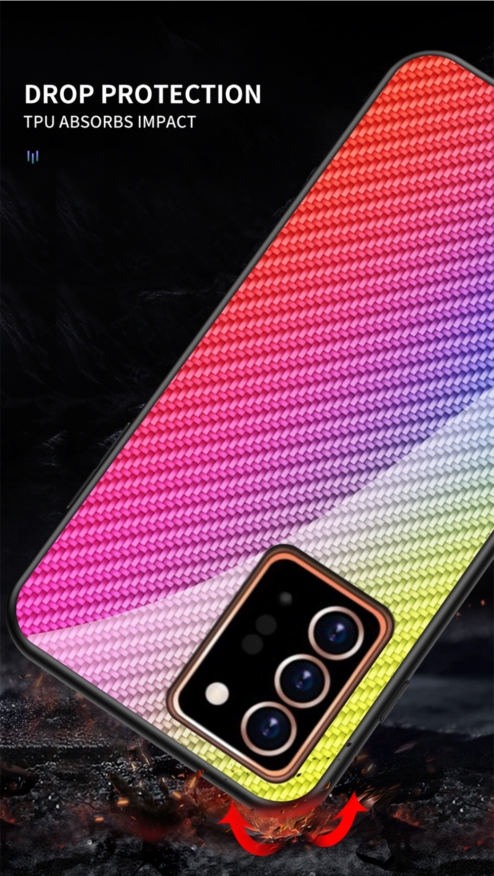 XUANYAO Case Cover For Samsung Galaxy Note 20 Plus Case Glass Hard Cover For Samsung Galaxy Note 20 Ultra Case Slim Carbon Fiber (11)