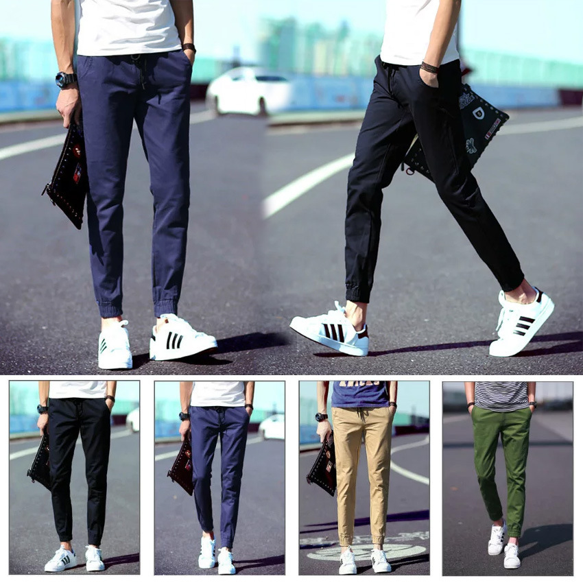 Korean-style Simple Slim Fit Ankle Banded Pants Skinny Elastic Trousers Men's Closing Trend Multi-color Hot Selling Japanese-sty