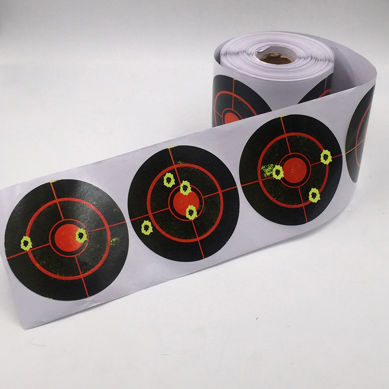 250 Roll Shooting Target Sticker 7.5cm Long Lasting Durable Shooting Accessories Bullseye Splashing Target Reactive Sticker
