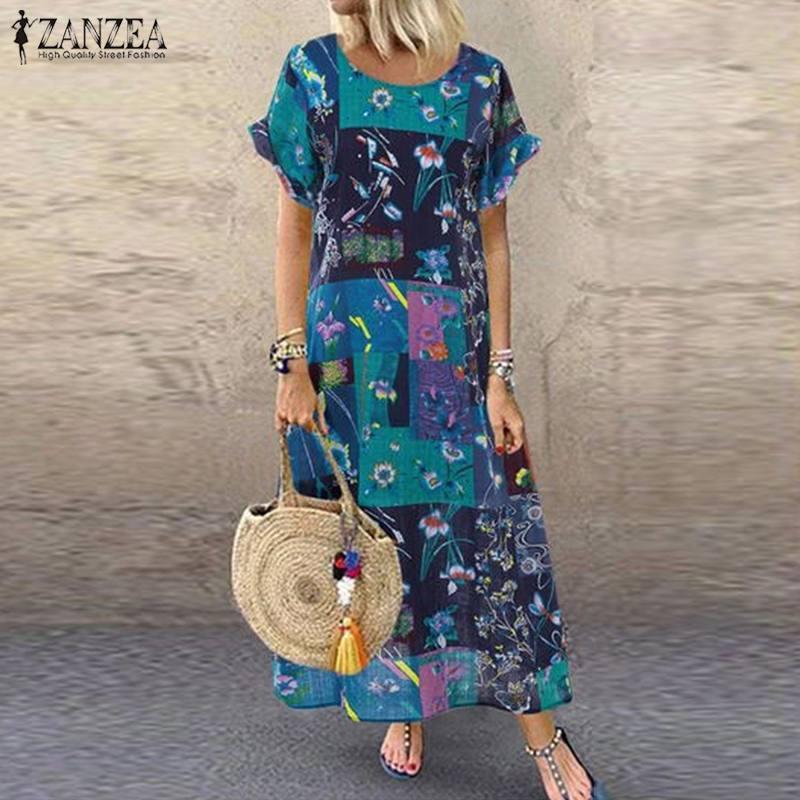 ZANZEA 2020 Summer Vintage Floral Printed Long Dress Women Short Sleeve Casual Baggy Party Vestido Plus Size Robe Beach Sundress
