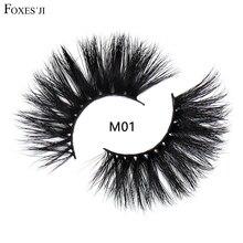 FOXESJI 25mm Mink Lashes False Eyelashes High Volume Cross Thick Fluffy 5D Mink Eyelashes Eye Lashes Wispy Makeup Eyelash M01 недорого