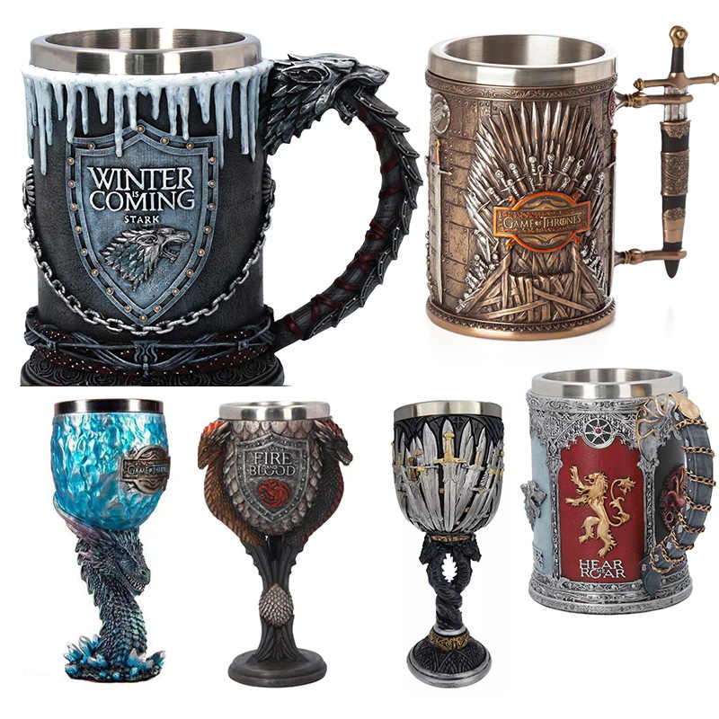 Game of Thrones Mug Goblet Stainless Steel Resin 3D Beer Tankard Coffee Cup Wine Glass Mugs 600ml 400ml 200ml BEST GOT Fan Gift