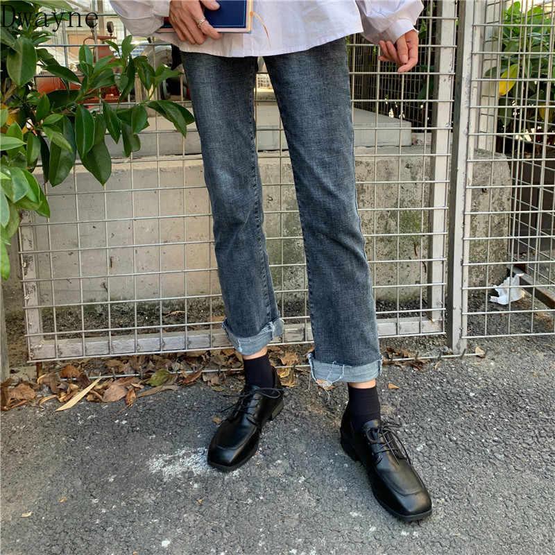 Küçük deri ayakkabı İngiltere 2019 ilkbahar ve sonbahar yeni retro dantel kare kafa Lok Fu ayakkabı kalın rahat tek ayakkabı kadın