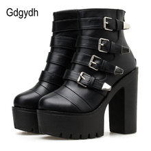 Gdgydh Goth Black Womens Ankle Boots Strap Block Heel Shoes
