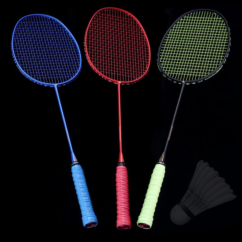 Hot Ultralight 6U Badminton Racket Professional Carbon Portable Free Grips Sports MVI-ing