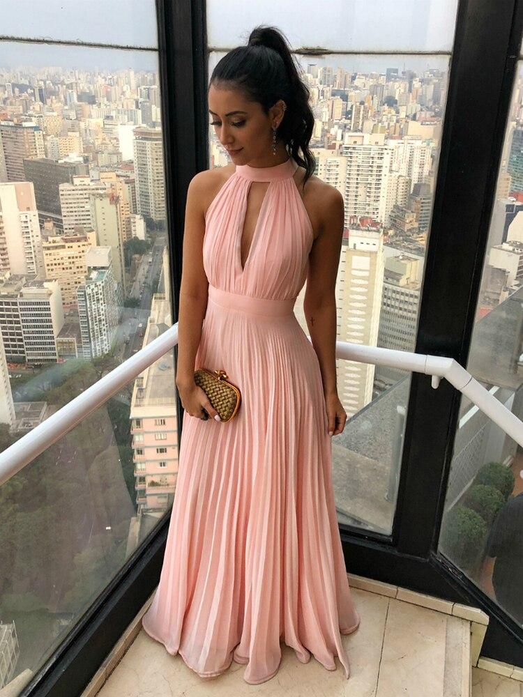 Semplice Una Linea di Colore Rosa Halter Chiffon di Lunghezza Del Pavimento Pieghe Del Vestito da Promenade