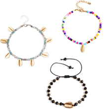 3 Pcs/ Set Colorful Beads Natural Shell Anklets Bohemian Summer Beach Handmade Ankle Bracelet Jewelry