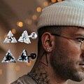 Мужские серьги-гвоздики, треугольные серьги-гвоздики с кристаллами циркония, крошечные минималистичные шпильки из нержавеющей стали для м...