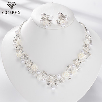 CC Jewelry Sets Pearl Necklace Stud Earrings Choker Pendant Romantic Wedding Engagement Accessories For Bridal Women Gifts TL159 wedding bridal pearl jewelry set women fashion crystal leaf pendant necklace earrings set