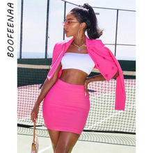 BOOFEENAA 2 Piece Set Women Sexy Fall Outfits Neon Pink Yellow Long Sleeve Blazer Crop Top and Skirt Night Club Sets C70-AD70(China)