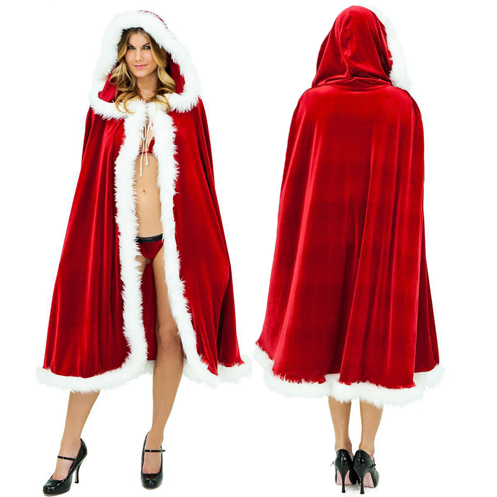 Christmas Santa Cape Women Hooded Cloak Large Red Gold Velvet Cosplay Adult Kids Girl Shawl Windbreaker Christmas Cloak Costumes