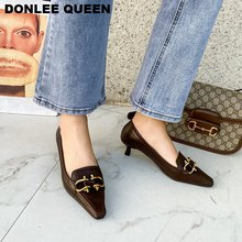 2020 New Spring Med Heel Pumps Shoes Women Brand Metal Buckle Shoe For Party Fashion Square Toe Retro Pumps Shallow Casual Shoes women s velvet med heel comforable mary jane pumps brand designer round toe spring new female cute footwear shoes for women sale