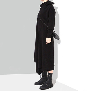 Image 4 - מוצק שחור אישה סתיו חורף ארוך אסימטרית סרוג סוודר שמלה מלא שרוול בתוספת גודל למתוח גבירותיי שמלת Robe סגנון 1803