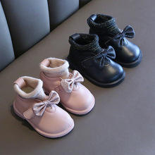 Autumn and Winter Baby Princess Shoes Soft Bottom 1-2 Years Old Baby Toddler Shoes Winter Cotton Shoes Girls Snow Boots cheap rubber brother Leather Butterfly-knot Slip-On Fits true to size take your normal size 10-12M 19-24M 2-3Y Flat with Plush