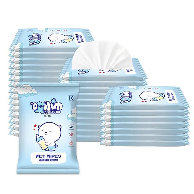 *Babys Gently Sensitive Wet Wipes For Hands 10Pcs/pack Cleaning Disinfection Outdoor Portable Wipes Kids Care Wipes Travel Pack 6