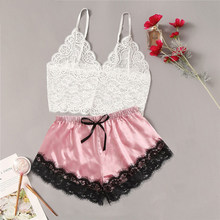 Women Sexy Lingerie Porno Sleepwear Set Fashion Erotic Girls Lace Floral Cami Top Satin Trim Shorts Sexy Underwear Set Babydoll(China)