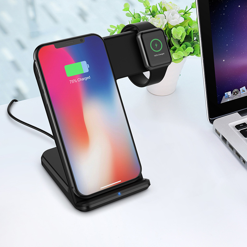 Universal 10w Vertical Fast Wireless Charger For Mobile Phone Watch 2-In-1 Wireless Fast Charging Device Charger Adapter