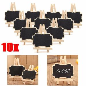 10 PCS/Set Mini Wooden Blackboard Universal Message Board Chalkboard Portable Wedding Party Decor Decorative Parts