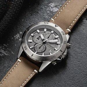 Image 3 - Ruimas ファッションクォーツは、男性の高級トップブランド腕時計クロノグラフ男革軍スポーツ腕時計 relogios masculino