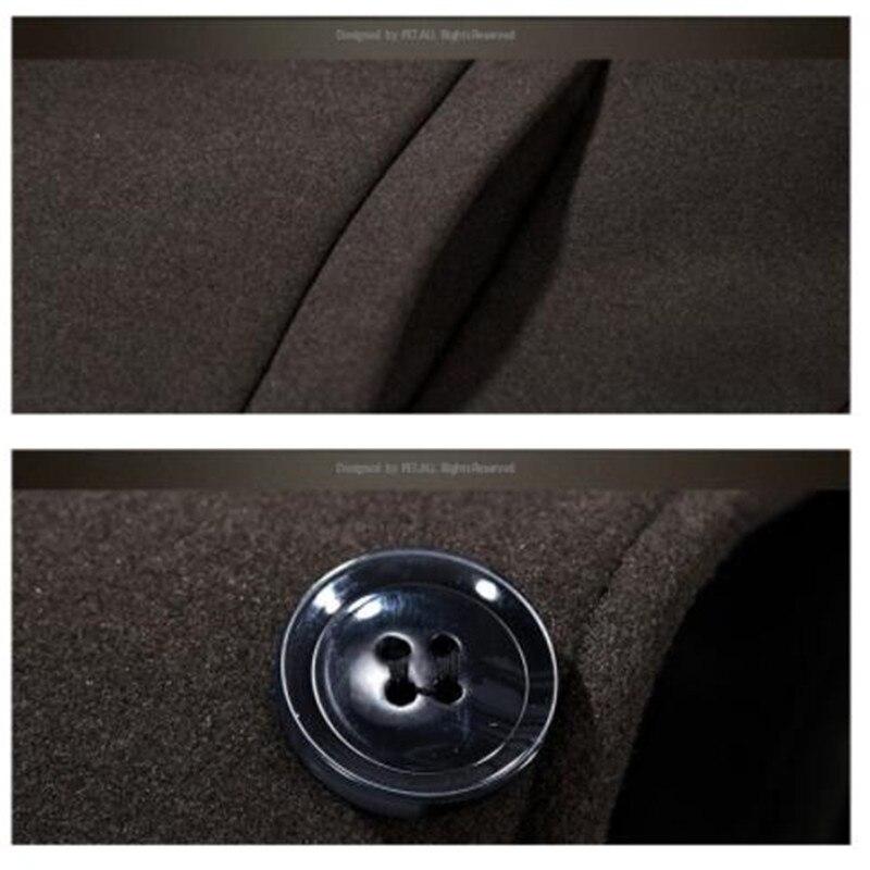 Одежда высшего качества из смески шерсти мужская куртка, пальто брендовая 2017 парка осенне зимние пальто мужской теплая длинная верхняя оде... - 6