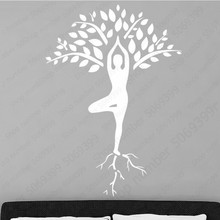 Slender Woman Yoga Pose Wall Sticker Tree Pattern Decoration for Girl Bedroom Wall Stickers Removable Vinyl Wall Mural LW665 cute pandas tree pattern wall stickers for children s bedroom decoration
