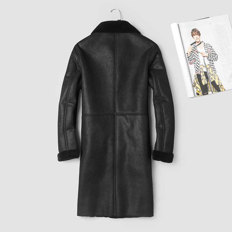 Genuine Leather Jacket Men Long Real Sheepskin Coat 100% Wool Lining Winter Leather Jackets Vintage 87067-1 KJ2992