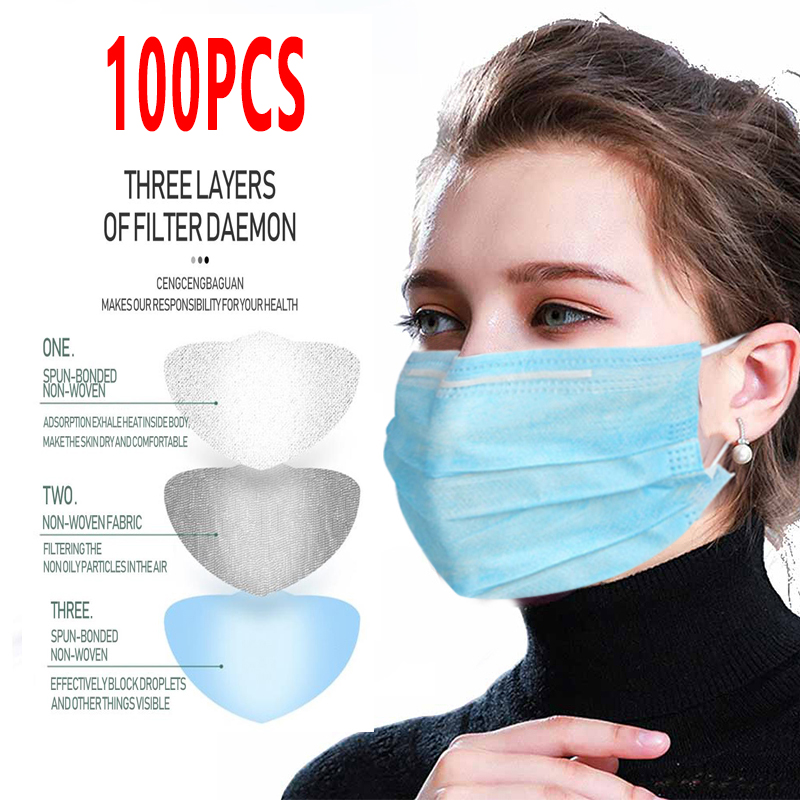 100pcs High Quality Disposable Cotton Face Masks Non-Woven Mask Anti-Dust Mask 3 Layers Activated Anti Pollution Proof Face Mask