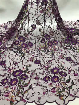 Nigerian wedding lace 2020Popular African Sequince Lace tulle lace fabric For Spring Summer long Dresses