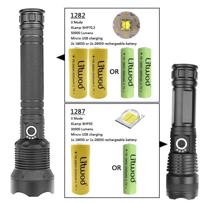 Litwod Z90 + 1282 8000lm linterna LED táctica de alta potencia linterna CREE XHP70.2 18650 26650 linterna de batería recargable