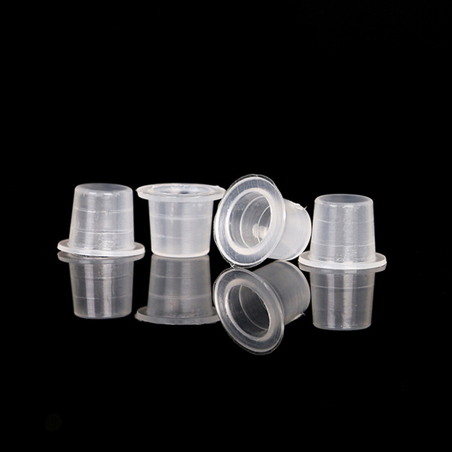 100pcs Plastic Microblading Tattoo Ink Cup Cap Pigment Clear Holder Container S/m/l Size For Needle Tip Grip Tattoo Supplis 3