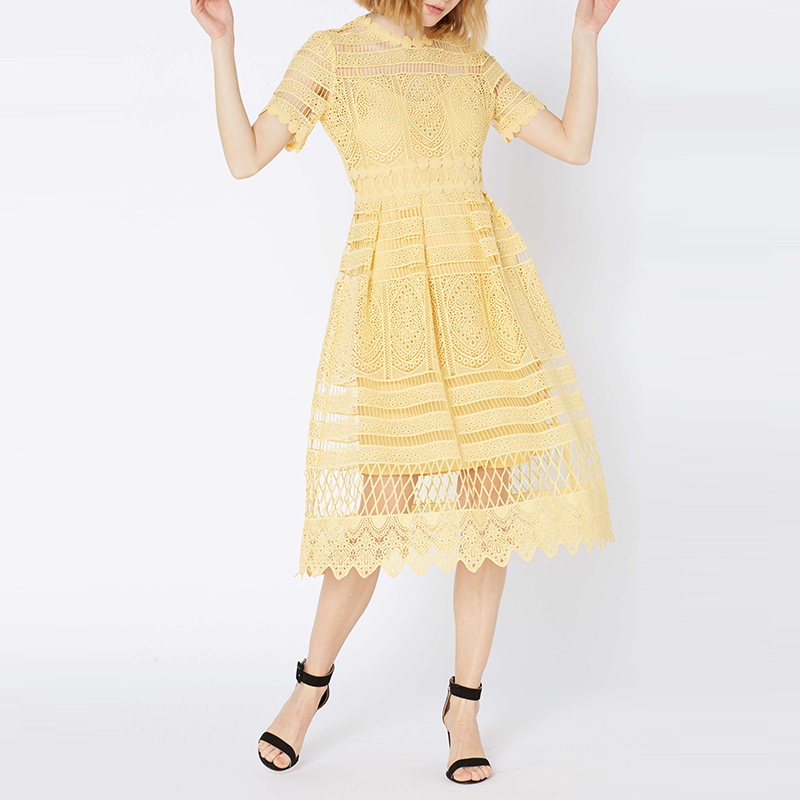 High Quality Women Yellow Lace Dress 2020 Elegant Fashion Hollow Out Short Sleeve Slim Tunic Long Party Dress