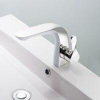 BAKALA Luxury New Design White chrome Brass Bathroom Water Tap Single Handle Single Hole Tall Bathroom Faucet FA-5902-3