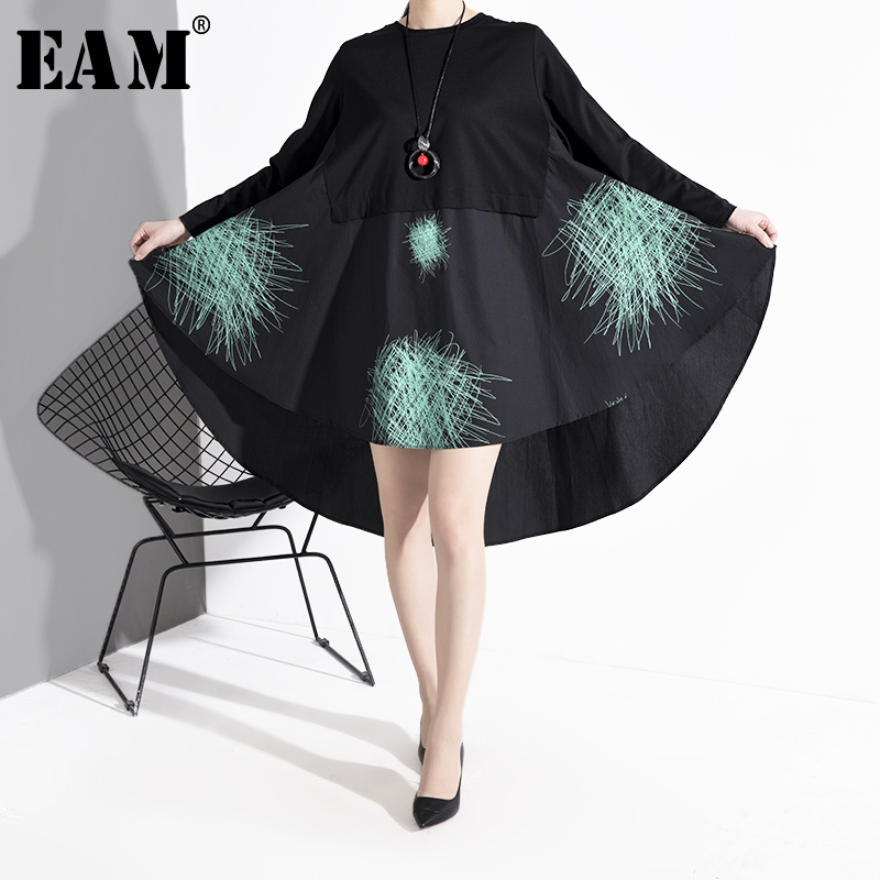 [EAM] Women Back Long Pattern Printed Asymmetrical Dress New Round Neck Long Sleeve Loose Fit Fashion Spring Autumn 2020 1R1710