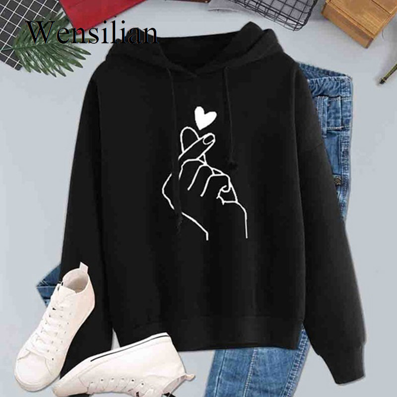 Winter Hoodies Women Sweatshirts Casual Kpop Long Sleeve Pullovers Print Finger Heart Love Pattern Hooded Fashion Drawstring