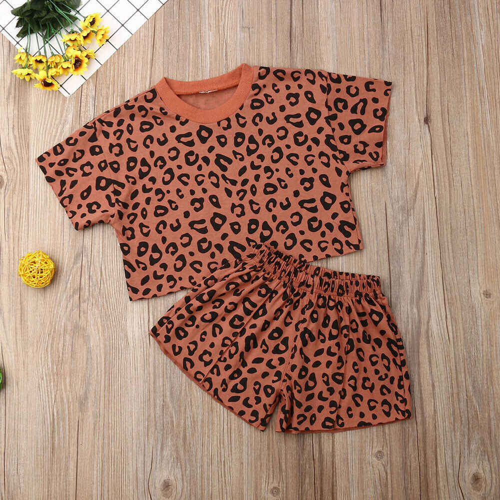 2019 طفل الصيف الملابس الرضع الاطفال طفلة ليوبارد ملابس قطنية المحملة + السراويل الاطفال فتاة عارضة 2 قطعة مجموعات وتتسابق 6 M-5 T