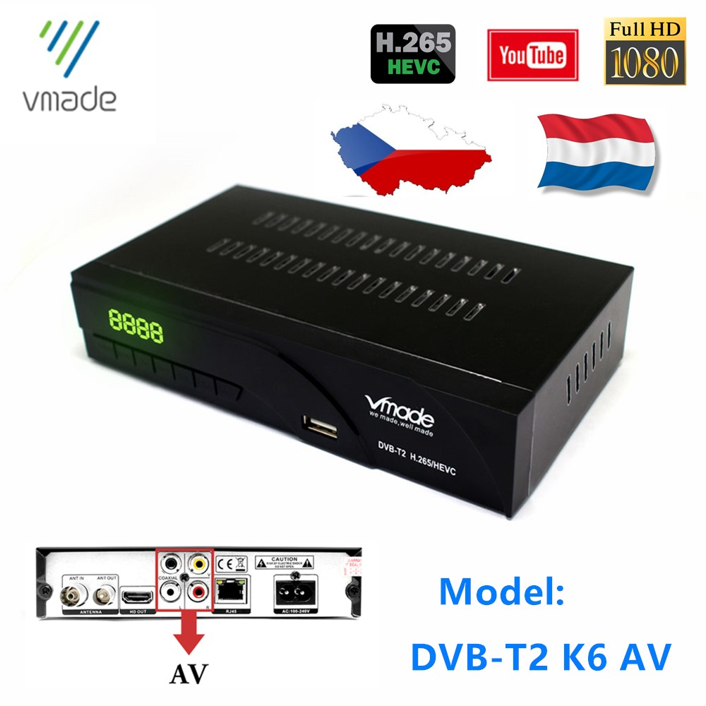 DVB-T2 In Set Top Boxes HD 1080p Support YouTube Hot Sale Europe Czech Republic DVB T2 Dolby AC3 HEVC H.265 TV Decoder Receiver
